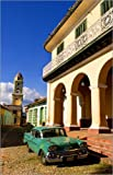 Canvas print 40 x 60 cm: 1958 Classic Chevy on cobblestone street in center square of Trinidad, Cuba by Bill Bachmann / Danita Delimont - ready-to-hang wall picture, stretched on canvas frame, printed image on pure canvas fabric, canvas print