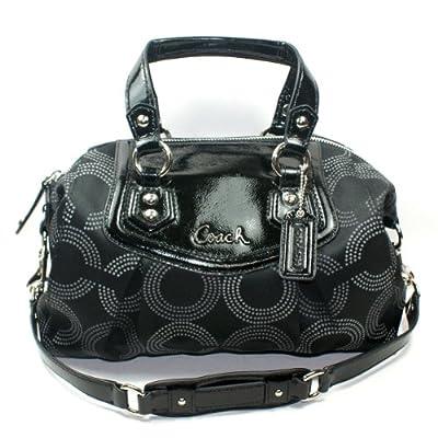 Coach 20027 Ashley Black Dotted Opt Art Satchel Shoulder Handbag