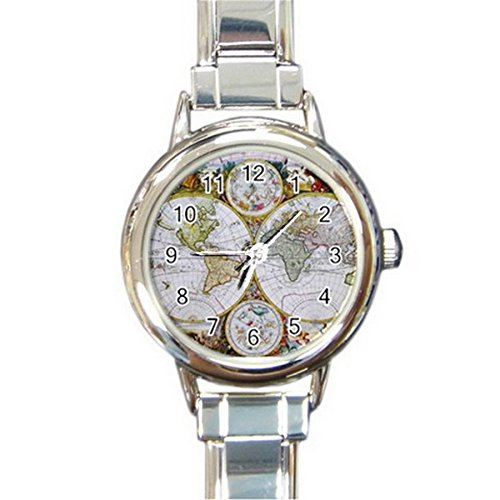 SPEW042 Antique World Map Round Italian Charm Watch Silver for women Fashion Hot Gift NE (Italian Map Charm compare prices)
