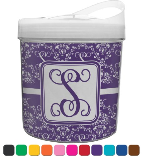 Personalized Initial Damask Personalized Plastic Ice Bucket front-645181