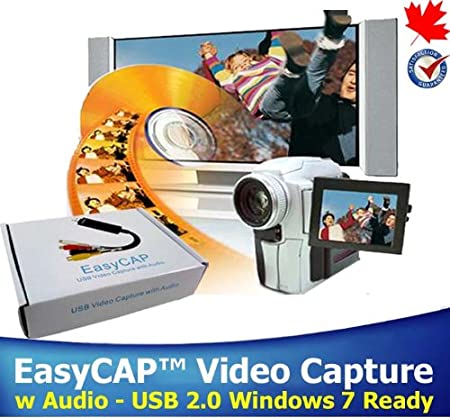 EasyCAP Video Capture Device w Audio USB 2.0 Video Adapter Interface Capture High Quality Video & Audio Files Professional Video Editing Software VHS to DVD Windows 7 Ready