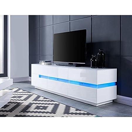 Dallas meuble tv avec éclairage led 160 cm - laqué blanc brillant