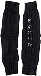 Dahlia Women's Button Accented Soft Acrylic Knit Fingerless Arm Warmer Gloves