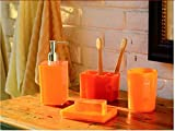 Exquisite 4 Piece Bath Ensemble, Acrylic Bathroom Accessory Set with Soap Dish, Lotion Dispenser, Toothbrush Holder & Tumbler (orange)