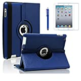 AiSMei Case for iPad 4 (2012), iPad 3 (2012), iPad 2 (2011), 9.7-inch Rotating Stand Case Cover for Apple iPad 2, iPad 3, iPad 4 [Bonus Film+Stylus] Navy Blue (Color: Navy Blue, Tamaño: 9.7 x 7.5 x 0.9 inches)