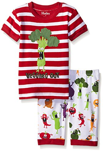 Hatley Little Boys Monster Veg Short Pajama Set, Red, 7