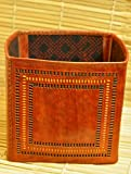 The India Craft House Cut Out Leather Magazine Holder(H- 15