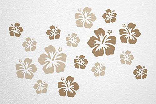 WANDfee-Wandtattoo-16-Hibiskus-Blten-AC0610304-Gre--7-15-cm-2-x--15-cm-4-x--11-cm-10-x--7-cm-Farbe-beige-hellbraun