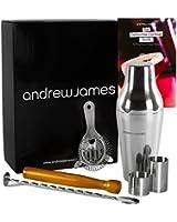 Andrew James - Kit Cocktail Parisien: Shaker Parisien, Cuillère torsadée, Passoire, Pilon En Bois, 2 Doseurs De 25 ml Et 50 ml - Complet En Coffret Cadeau Élégant