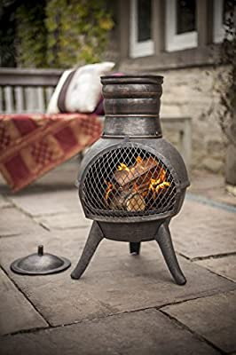 Free Cover La Hacienda Squat Bronze Effect Cast Ironsteel Mix Chiminea Patio Heater by La Hacienda