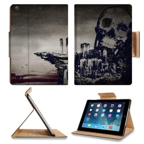 Skull And Crossbones Artistic Design Apple Ipad Air Retina Display 5Th Flip Case Stand Smart Magnetic Cover Open Ports Customized Made To Order Support Ready Premium Deluxe Pu Leather 9 7/16 Inch (240Mm) X 7 5/16 Inch (185Mm) X 5/8 Inch (17Mm) Luxlady Ipa