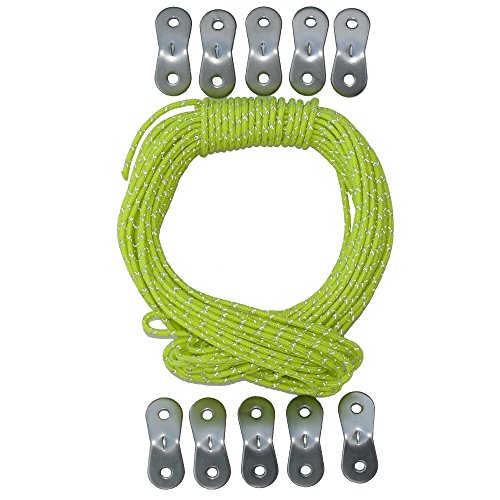 Tent Tools Guyline Adjuster Kit - 50ft of Reflective 2.44mm Tactical Nylon Cord with 10 Aluminum Tensioners (Yellow, (Glow In The Dark Toy Parachute)