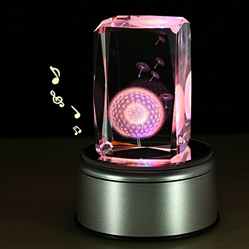 LIWUYOU Music Box for Girls Engraving with Dandelion Flower Colorful Light Crystal Musical Boxes, No Text, Music base