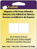 "Magnum Magnetics Corp Mega Strong Magnetic Squares w/Foam Adhesive-1"" 4/Pkg"