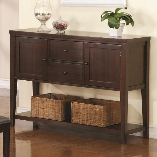 Cheap 2 Door Server Sideboard with Drawers and Shelf in Dark Brown Finish (VF_103135)