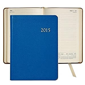 2014 Notebook Planner 7'' Brights-BLUE Fine Leather by Graphic Image - 5x7