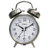Elgin QA Twin Bell Alarm Clock, Silver