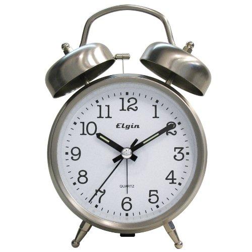 Elgin QA Twin Bell Alarm Clock, Silver (B000LNW14E) : Amazon price tracker / tracking, Amazon ...