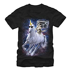 Lost Gods Boombox Cat and Unicorn Space Song Mens Graphic T Shirt
