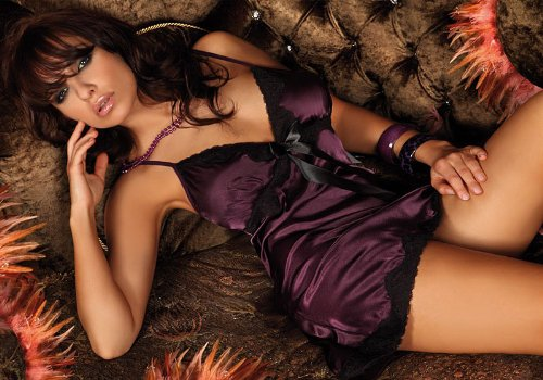 Sheer Satin Nightie Slip with Matching Thong Lingerie Set - Colour Purple - Size M