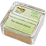 Post-it Greener Pop-up Notes Dispenser for 3 x 3-Inch Notes, Glass and Cork Dispenser