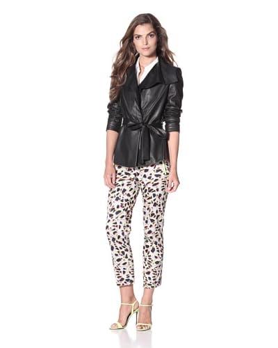 Elie Tahari Women's Iris Elegance Leather Jacket  - Black