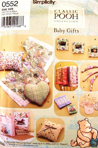 Simplicity 0552 Or 4642 Winnie The Pooh Bear Baby Gifts Craft Pattern Frame. Diaper Bag, Pillows, Album Cover, Bib Blanket, Changing Pad