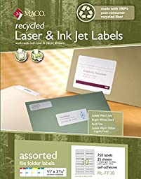 MACO Recycled Laser/Ink Jet Assorted Colors File Folder Labels, 2/3 x 3-7/16 Inches, 30 Per Sheet, 750 Per Pack (RL-FF30)
