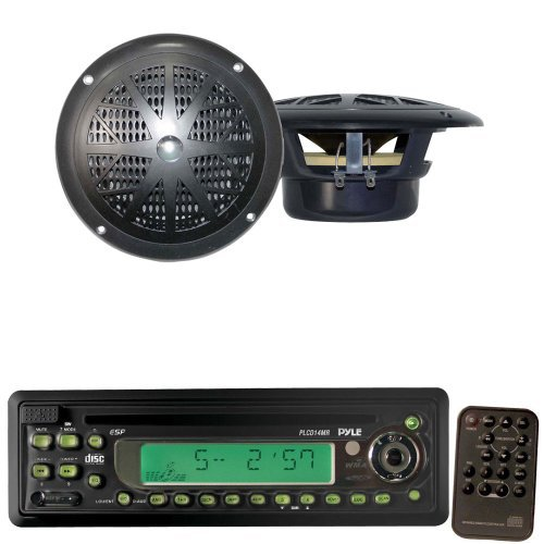 Pyle Marine Radio Receiver and Speaker Package - PLCD13MR AM/FM-MPX In-Dash Marine CD/MP3 Player w/Full Face Detachable Panel - PLMR41B 4'' Dual Cone Waterproof Stereo Speaker System (Pair)