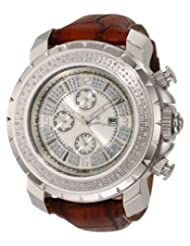 "JBW-Just Bling Men's JB-6236L-B ""Titus"" Oversized Multi-Function Leather Band Diamond Watch"