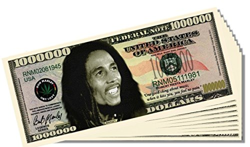 Bob Marley Novelty Million Dollar Bill - 25 Count with Bonus Clear Protector & Christopher Columbus Bill