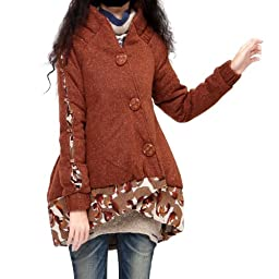 Artka Women\'s Snug Surplice Bud Shape Quilted Coat,Brick Redish Brown,OneSize