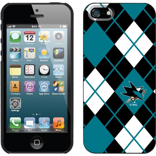 Great Sale San Jose Sharks« - Argyle design on a Black iPhone 5s / 5 Thinshield Snap-On Case by Coveroo
