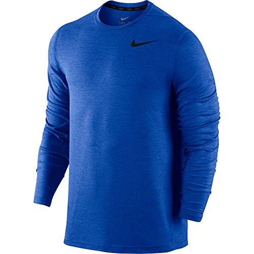 New Nike Men's Dri-FIT Training L/S Shirt Game Royal/Black XX-Large