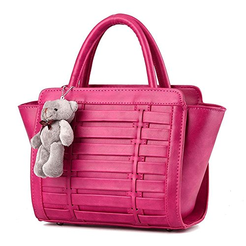 Van'an Women's Vintage Bear Decorate Sling Tote Bags Braided Top Handle Handbag(RoseRed)