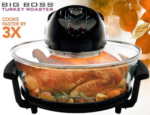 Big Boss 1300 Watt Oval Rapid Wave Oven and Turkey Roaster, Black, 17.5 Quart