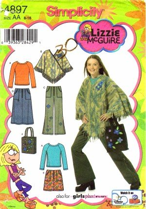 Simplicity 4897 Sewing Pattern Lizzie Mcguire Girls Skirt Pants Poncho Top Bag Size 8 - 16 front-820541