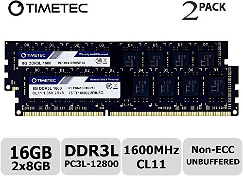 Timetec 16GB KIT (2x8GB) DDR3L 1600MHz PC3L-12800 Non ECC Unbuffered 1.35V/1.5V CL11 2Rx8 Dual Rank 240 Pin UDIMM Desktop Memory Ram Module Upgrade (16GB KIT (2x8GB) (Tamaño: 16GB KIT (2x8GB) - Fast Ship)