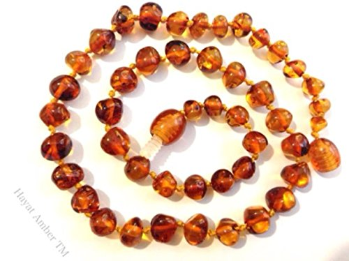 """Natural Baltic Amber Baby Amber Teething Necklace 13"""" Inch Handmade - Brown Honey Color Screw Closer Rounded Shape - Safety Knotted Beads/ Free Jewelry Pouch Bag front-851582"""