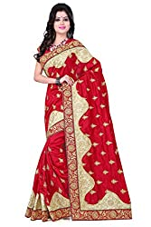 Fabviva Women's Red Art Silk Designer Saree