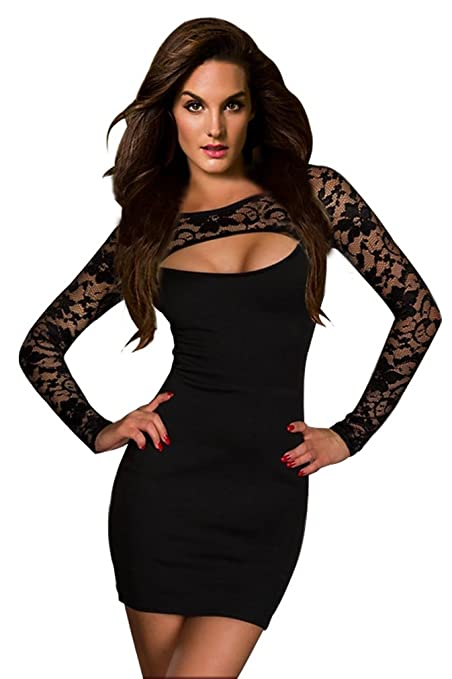 Amour -Sexy Blk Lace Long Sleeves Mini Dress Clubwear (Trendy Long Sleeves)