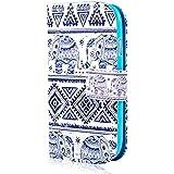 YOKIRIN Elefant Blau Flip Cover Leder Wallet Case Schutzhülle für Samsung Galaxy S3 Mini S III Mini I8190 Hülle Tasche Handytasche Etui Schale Backcover im Bookstyle mit Standfunktion Kredit Kartenfächer