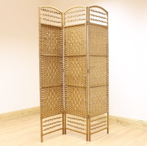 3 PANEL BEIGE HAND MADE WICKER ROOM DIVIDER/SEPERATOR/PRIVACY SCREEN FOLDING PARTITION