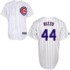 MLB Chicago Cubs Anthony Rizzo 44 Replica Jersey, White Royal Pin Stripe by Majestic