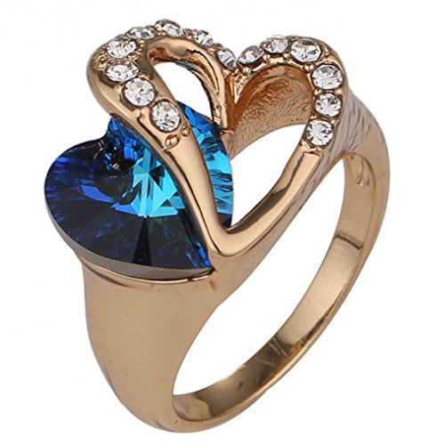 Women's 18K Gold Platd Swarovski Elements Crystal Heart Rings Available size 6, 7, 8, 9 [MR.TIE] Exquisite Fashion Jewelry