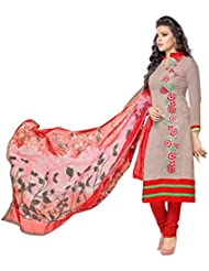 Surat Tex Grey Colored Chanderi Cotton Embroidery Party Wear Semi-Stitched Salwar Suit-J360DL6
