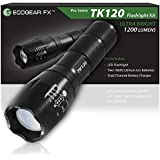 EcoGear FX Tactical LED Flashlight Kit (TK120): Bright LED Flashlight with 1200 Lumens, Zoom Function and 5 Light Modes - Includes Rechargeable Batteries, Battery Charger and a Durable Storage Box