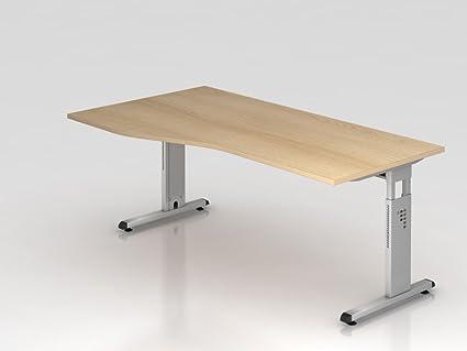 Supporto scrivania C 180x 100/80cm, rovere/argento