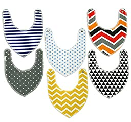 Drool Bibs By Colwares - 100% Cotton Baby Drool Bibs (Boys, 6-Pack)