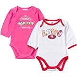 NFL San Francisco 49ers Girls Long Sleeve Bodysuit (2 Pack), 3-6 Months, Pink/White